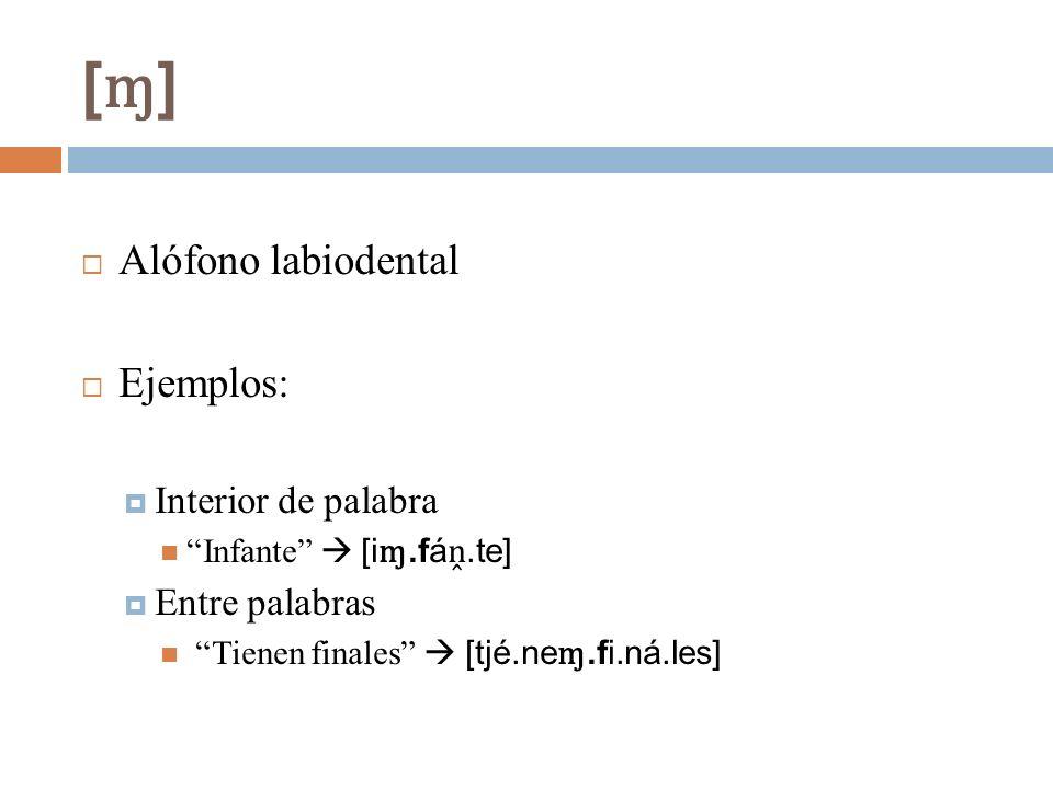 [ɱ] Alófono labiodental Ejemplos: Interior de palabra Entre palabras